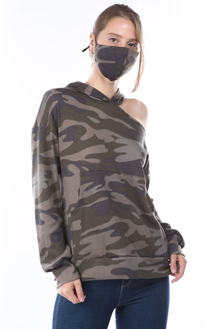 JEMIME HOOD OPEN SHOULDER TOP (NEW ARMY)- VT2773