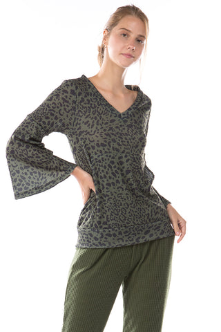 HATTIE BELL SLEEVE TOP (LEOPARD OLIVE)-VT2796
