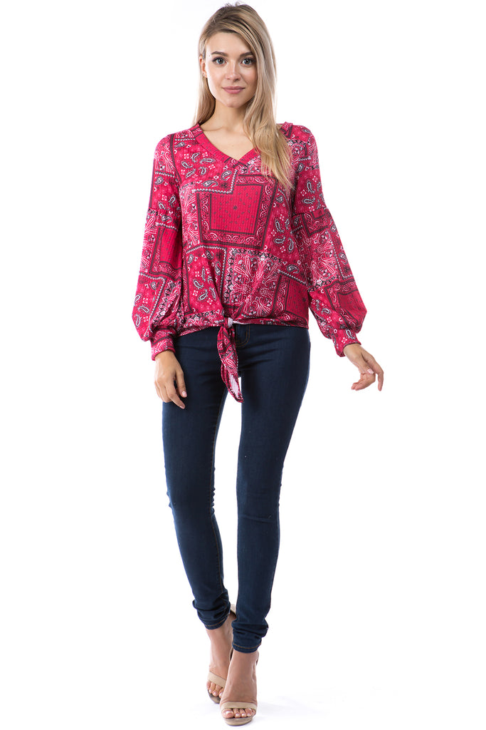 HATTIE V NECK TOP (BANDANA RED)-VT2798