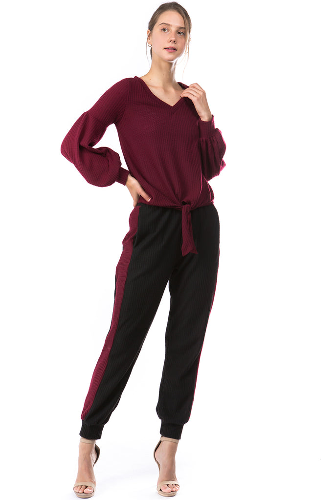 AGNES PANTS (BRUSH BLACK/BRUSH WINE)-VP2769