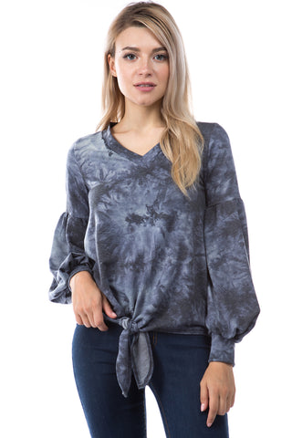 HATTIE V NECK TOP (FRENCH TERRY CHARCOAL)-VT2798