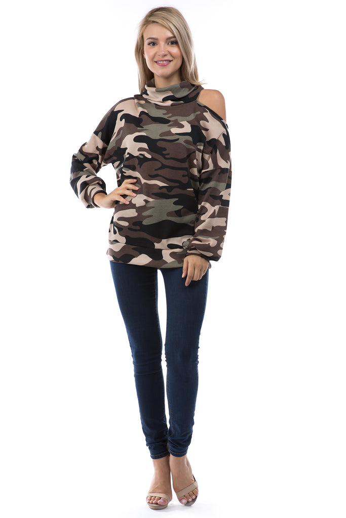 ELISE OPEN SHOULDER TURTLE NECK TOP (BROWN CAMO)-VT2842