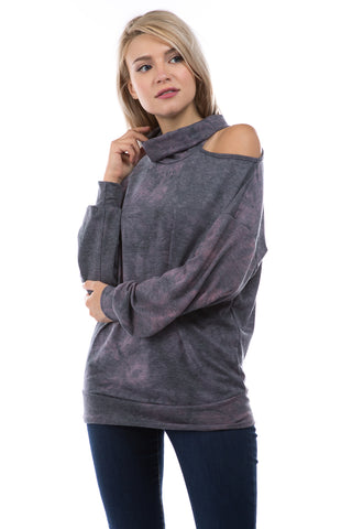 ELISE OPEN SHOULDER TURTLE NECK TOP (FRENCH TERRY GREY/PINK TIE DYE)-VT2842