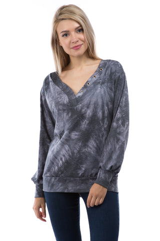 VICTORIA V NECK WITH EYELET TOP (FRENCH TERRY CHARCOAL TIE DYE)-VT2851