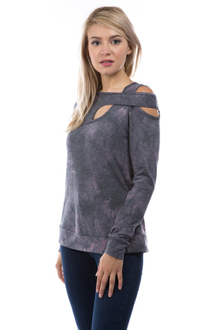 VICTORIA CROSS NECK STRAP TOP (FRENCH TERRY CHARCOAL TIE DYE)-VT2854