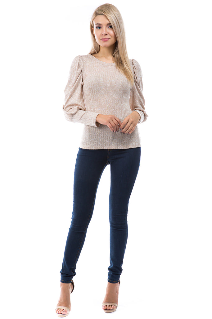 ANN BALLOON SLEEVE BOAT NECK TOP (OATMEAL)-VT2863