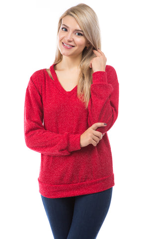 SYBIL COLD SHOULDER TOP (RED CORDED SWEATER)-VT2869