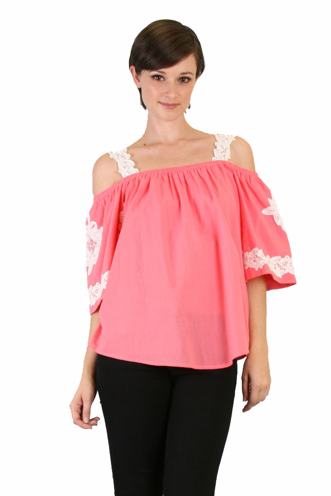 JUNE OFF SHOULDER TOP (PINK)- VT7194