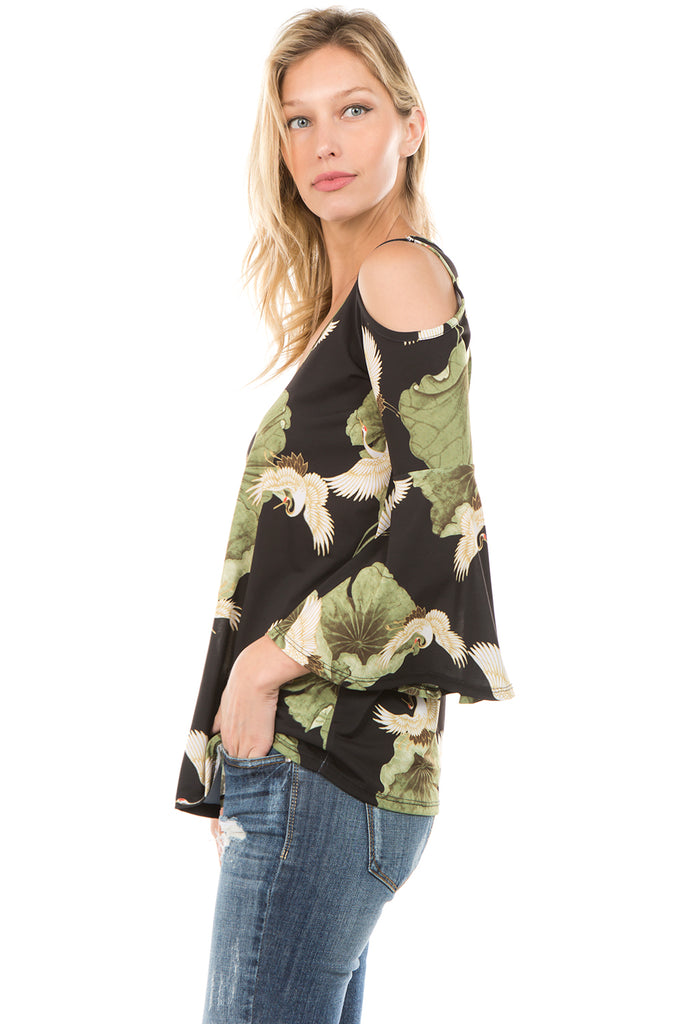 PRINTED BRENDA TOP (Black/Bird)- VT7365