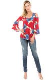 PRINTED BRENDA TOP (Red Bird)- VT7365