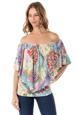 MONICA CONVERTIBLE TOP (PINK MULTI)- VT7463P