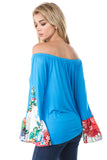 RACHEL SILK BELL SLEEVE TOP (SKY BLUE)- VT7661-SILK