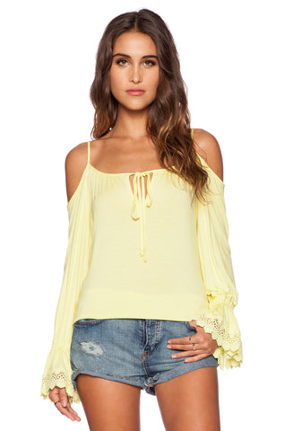 HALLE OPEN SHOULDER TOP (LIME)-VT9454