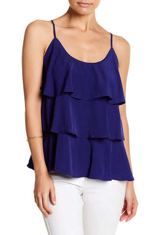 IVANA RUFFLE TOP (ROYAL BLUE)-VT9734