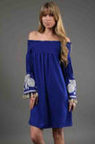SELLY OFF SHOULDER DRESS (BLUE)-CVD6419