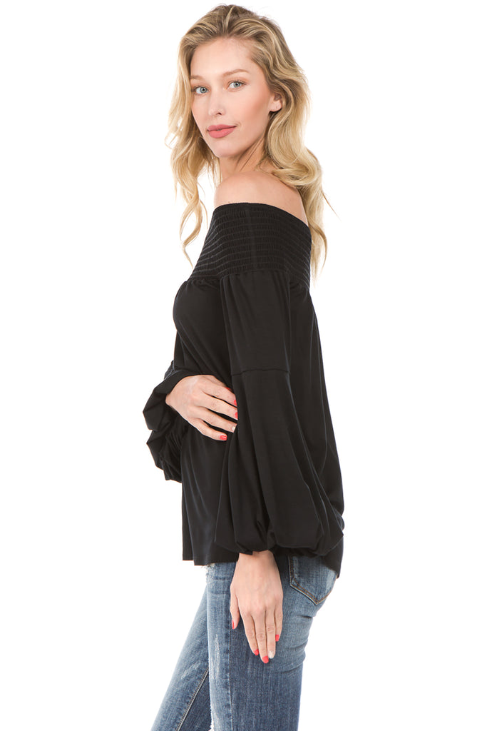 LAYLA OFF SHOULDER TOP (Black)- VT2215