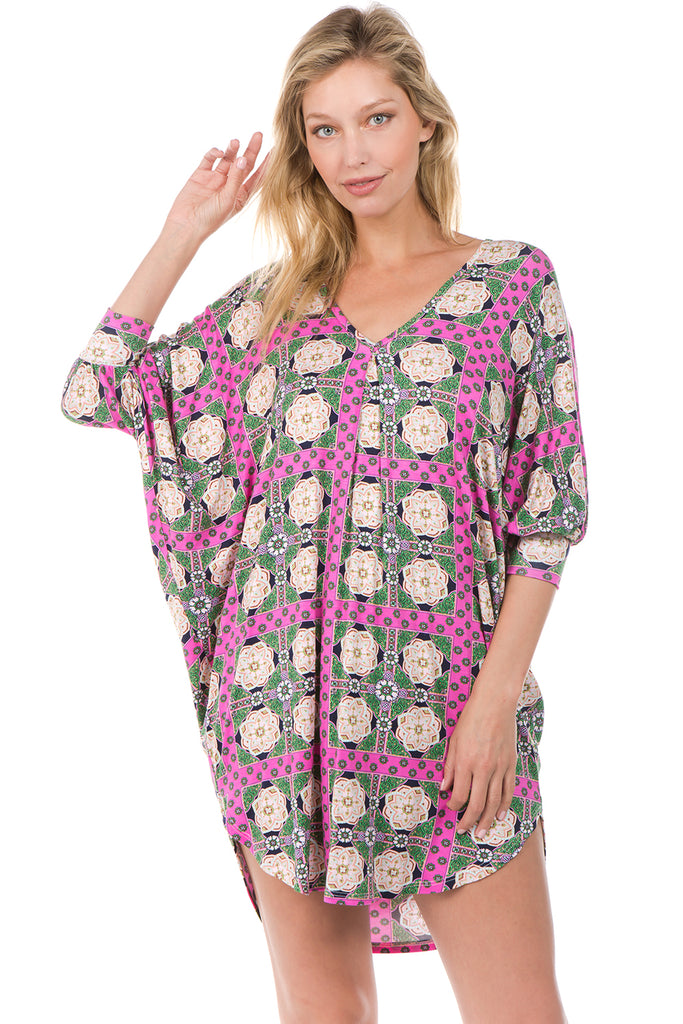 DARLA CAFTAN DRESS (Ivory/Pink)- D7572
