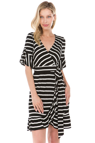 MARY WRAP DRESS (Black)- VD2197
