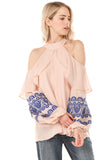 WINIFRED OPEN SHOULDER TOP (L. TAUPE)- CVT2112