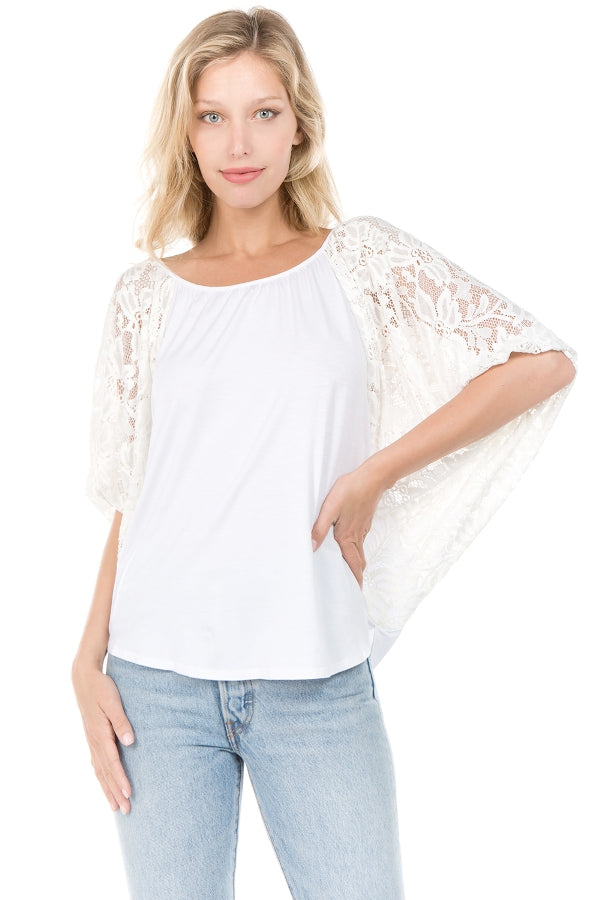 SKYLER LACE SLEEVE TOP (White)- VT7987