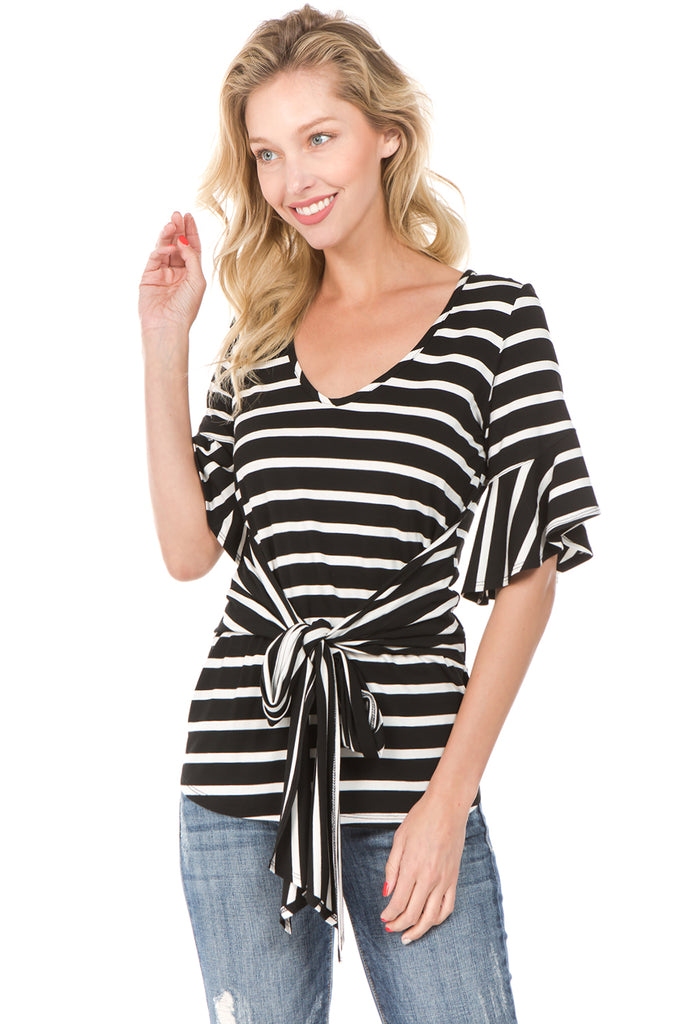 MARY WAIST-TIE TOP (Blk/Wht)- VT2234