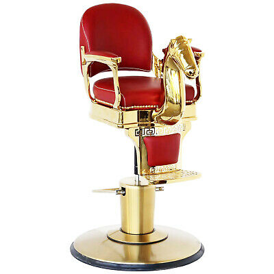 Hydraulic Kids Childs Salon Barber Styling Chair Red Gold Horse Seat Vintage Style