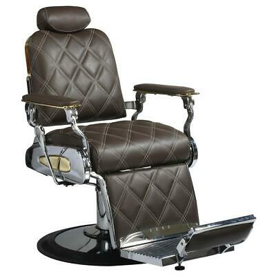 Professional High Quality Hydraulic Reclining Barber Chair Custom Double Diamond Stitch Brown