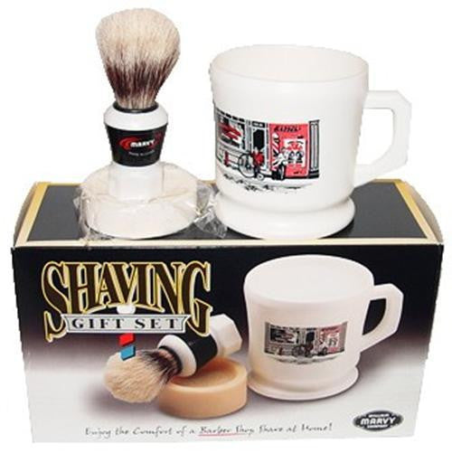 Marvy Shaving Gift Set Contains Boar Bristle Brush Mug & Soap