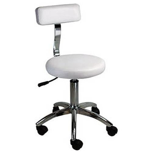 Hydraulic Stool With Backrest Beauty Salon Spa Massage Facial Chair ST002C White