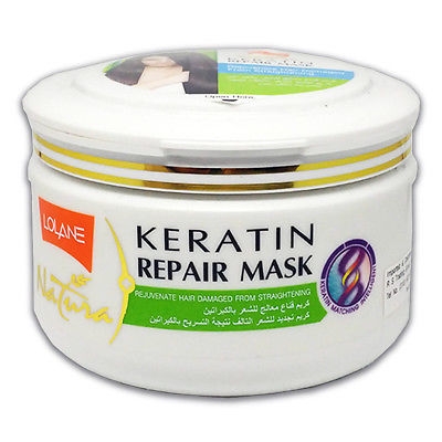 Lolane Natura Keratin Repair Hair Mask Green Rejuvenate For Straightening Damage
