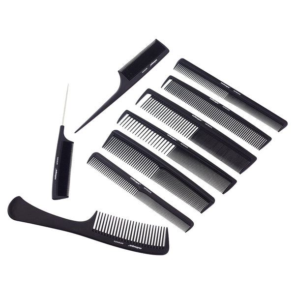 10 Piece Professional Hair Stylist Carbon Comb Set With Case