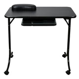 Portable Folding Manicure Table Portable Nail Care Center Black With Wheels & Drawer