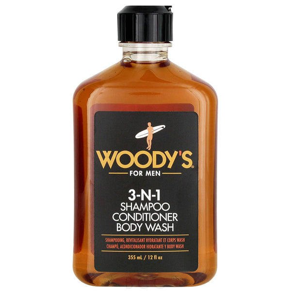 Woody's 3-N-1 Mens Shampoo Conditioner Body Wash 12oz