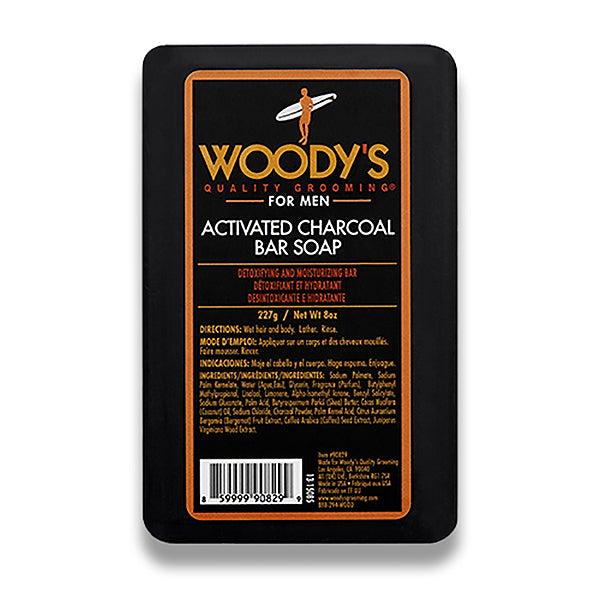 Woody's Activated Charcoal Bar Soap Anti-Bacterial Detoxifying Exfoliating Moisturizing 8oz