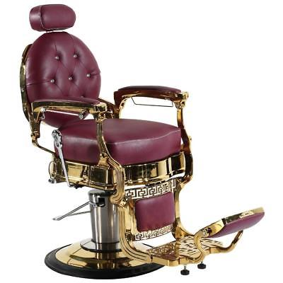 Professional High Quality Hydraulic Reclining Barber Chair Classic Vintage Style Burgundy & Gold CWTOP14G