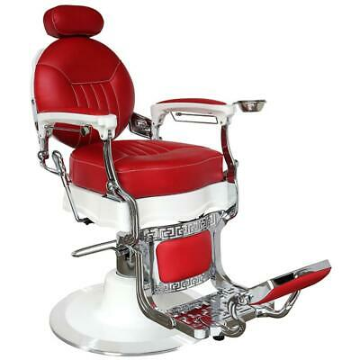 Professional High Quality Hydraulic Reclining Barber Chair Classic Vintage Style Red