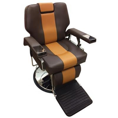 Professional Reclining Barber Chair Two Tone Brown