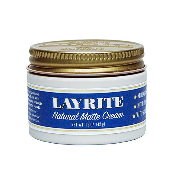 Layrite Travel Size Natural Matte Cream 1.5oz Pomade Hair Styling Wax Medium Hold