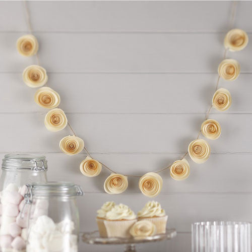 Paper Garland - Ivory Flowers