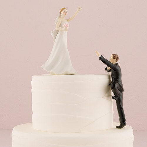 Cake Topper - Groom Climbing To Bride