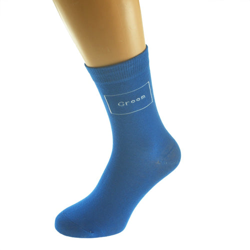 Woven Title Bright Blue Coloured Wedding Socks