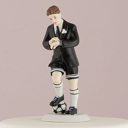 groom cake topper playing soccer