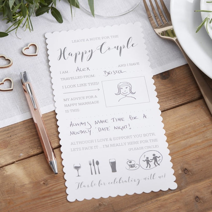 Advice Cards For Bride And Groom | Ginger Ray | MyWeddingStore.ie