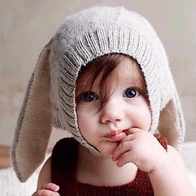 Autumn Winter Toddler Infant Knitted Baby Hat Adorable Rabbit Long Ear Hat Baby Bunny Beanie Cap Photo Props SW148 - Baby Clothes Connect