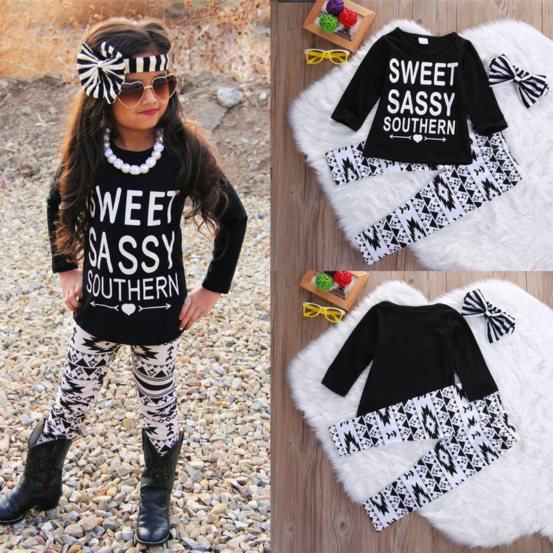 3PCS Toddler Kids Baby Girls Clothes T-shirt Tops Pants Headband Letter Printed Casual Girl Clothing Outfits Set - Baby Clothes Connect