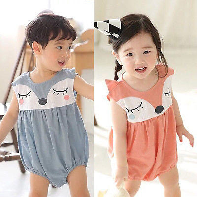 Cartoon Baby Boy Girls Infant Fox Romper Jumpsuit Sleeveelss Summer Outfit 0-24M - Baby Clothes Connect