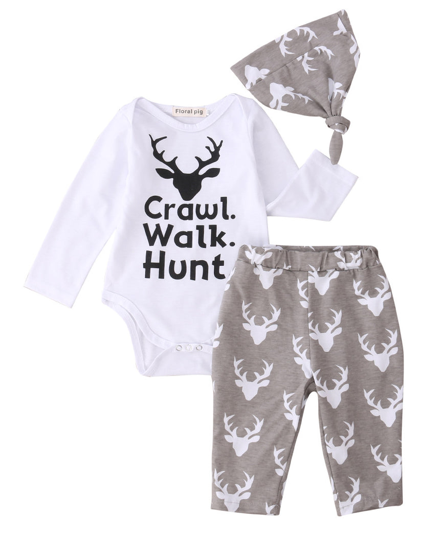 3Pcs/Set ! Newborn Baby Boys Girls Crawl Walk Hunt Romper Tops Pants Hat Casual Hat 3pcs Outfits Set Autumn - Baby Clothes Connect