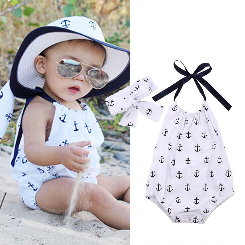 Newborn Kids Infant Baby Girl Jumpsuit Anchor Printed Bodysuit Clothes Outfit + Headband 2016 - Baby Clothes Connect