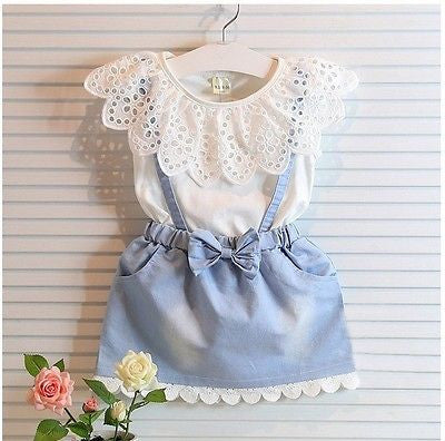 New Fashion Girls cowboy Short sleeve Bow cotton dress baby Girls Summer clothes kids girls Ball Cute dress 2 3 4 5 6 7 Years - Baby Clothes Connect