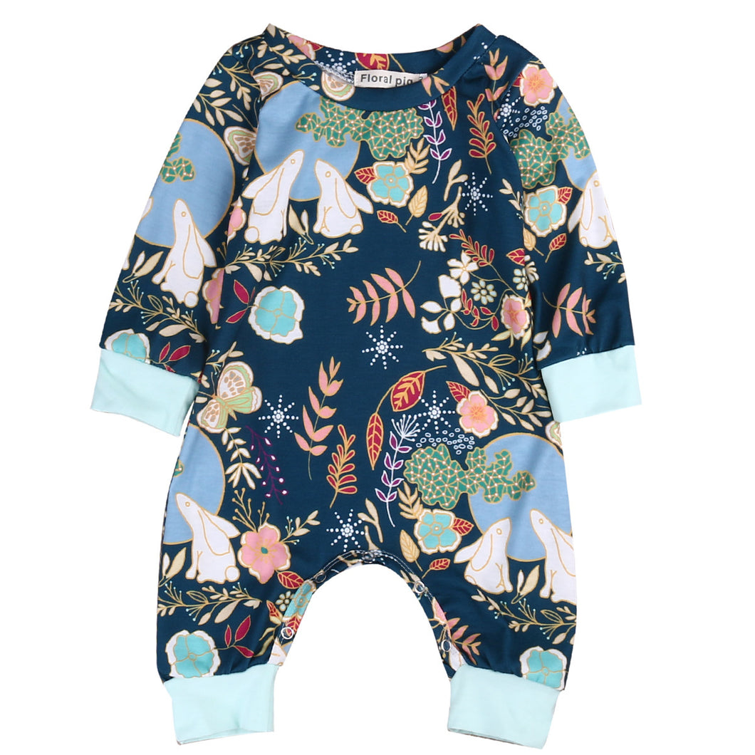 Fashion Printed Newborn Baby Boys Girls Cotton Long Sleeve Romper Jumpsuit Outfits Sunsuit Clothes - Baby Clothes Connect